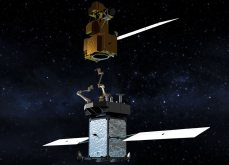 The Restore-L servicer extends its robotic arm to grasp and refuel a client satellite on orbit.