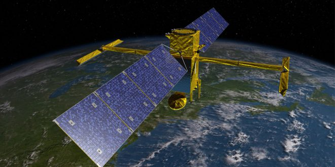 Artist illustration of Surface Water and Ocean Topography (SWOT) spacecraft.