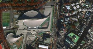 WorldView-4's first public image, taken on November 26, features the Yoyogi National Gymnasium in Shibuya, Tokyo. The site hosted events during the 1964 Olympic Games and will again host international competition when the games return to Tokyo in 2020