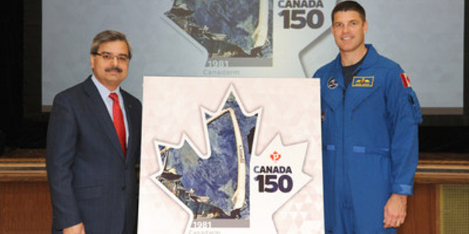 Deepak Chopra, President and CEO of Canada Post and Canadian Space Agency astronaut Jeremy Hansen
