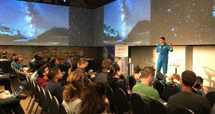Astronaut Jeremy Hansen speaking at the Waterloo Space Apps Challenge