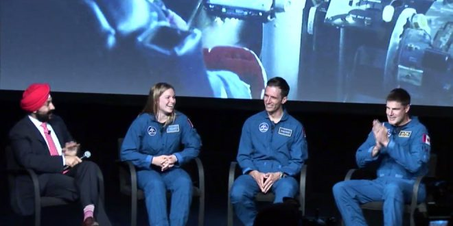 Minister Bains moderates a questions and answer session with Canada's newest astronauts Joshua Kutryk, Jenni Sidey and Jeremy Hansen.