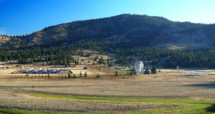 A view of the CHIME site from the south. Left to Right: CHIME, the John A. Galt 26 m telescope, the CHIME Pathfinder.