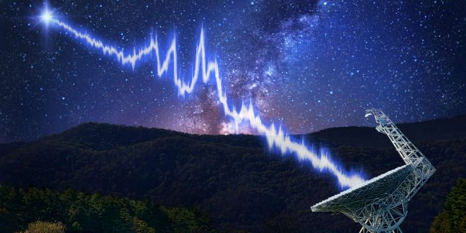 The 100-metre Green Bank telescope, in West Virginia, is shown amid a starry night. A flash from the Fast Radio Burst source FRB 121102 is seen travelling toward the telescope