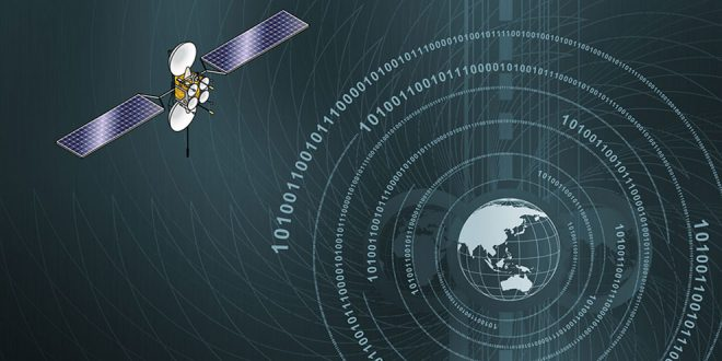 Artist illustration of satellite and cyberspace