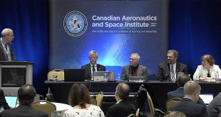Canadian Space Agency Directors Panel. From left to right: Moderator Jacques Giroux from ABB, Jean-Claude Piedboeuf, DG Space Science and Technology, Eric Laliberte, DG Space Utilization, Gilles Leclerc, DG Space Exploration, and Mary Preville, DG Policy