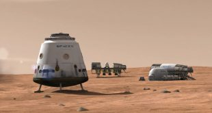 Original artist illustration of SpaceX Mars base