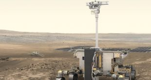 Artist's impression of the ExoMars rover and surface platform on the surface of Mars