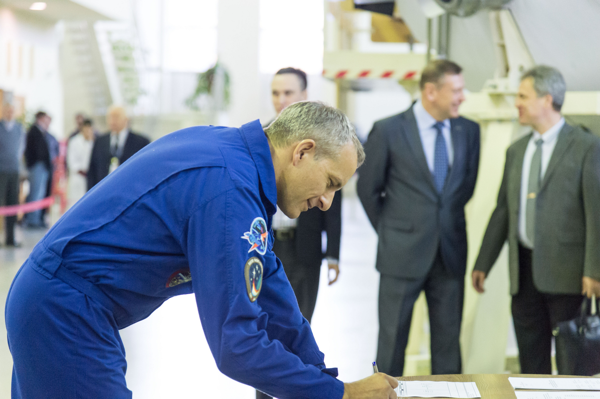 At the Gagarin Cosmonaut Training Center in Star City, Russia, Expedition 58 crew member David Saint-Jacques of the Canadian Space Agency signs in for his qualification exams Nov. 13. Saint-Jacques, Anne McClain of NASA and Oleg Kononenko of Roscosmos will launch Dec. 3 on the Soyuz MS-11 spacecraft from the Baikonur Cosmodrome in Kazakhstan for a six-and-a-half month mission on the International Space Station