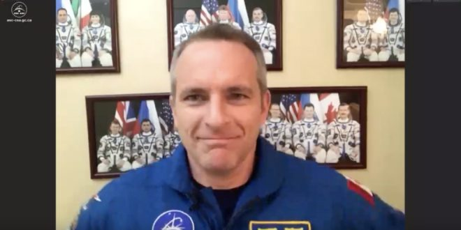 Astronaut David Saint-Jacques doing his last media interview before his launch on Dec. 3 to the International Space Station