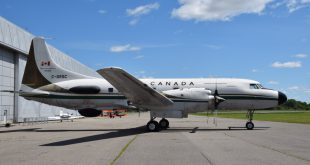 The Convair 580 at the exterior of the Canada Aviation and Space Museum in Ottawa