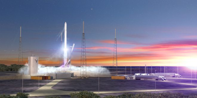 An artist illustration of the Relativity Space Terran 1 rocket and launch complex