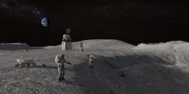 An artist illustration of American astronauts on the moon by 2024