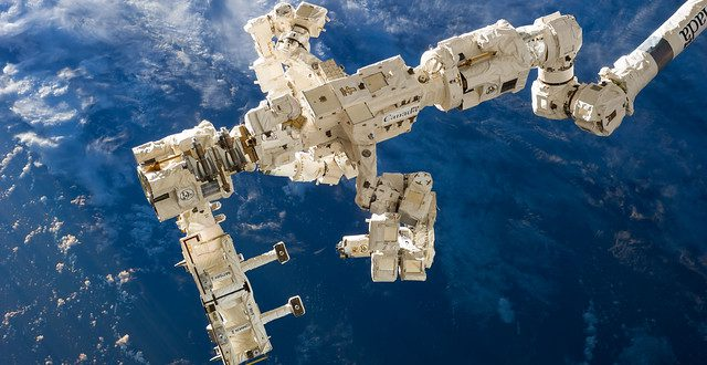 The International Space Station's Canadarm2 and Dextre, also known as the Special Purpose Dextrous Manipulator (SPDM)