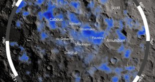 This image, created from data from the Lunar Exploration Neutron Detector (LEND) instrument, shows locations where fewer neutrons have been detected at the lunar south pole