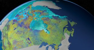 This is a Mosaic of Canada which is made from 121 images captured by Canadian satellite RADARSAT-2.
