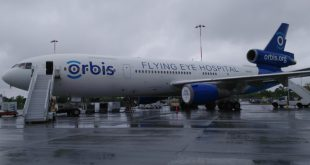 The Orbis airplane parked at Ottawa International Airport for the first time in more than a decade. It visited between May 31 and June 2, 2019