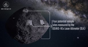 Researchers have selected four locations on asteroid Bennu as candidates for sample collection