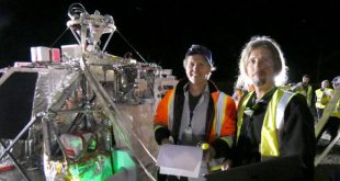 Stratodynamics CEO, Gary Pundsack and UAVOS CEO, Aliaksei Stratsilatau go through final systems check minutes before launch