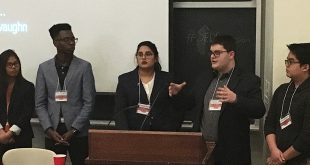 From McMaster University, the winning team for the Ascension conference's annual Young Space Entrepreneurs Competition (YSPACE), shown here taking questions about their project, conceived as a company that will repair, upgrade, refuel and maintain satellites in space. From left to right; Venus Orig, Tyvaughn Holness, Hira Nadeem, Arvi Mulliqi, Julian Vincent Sedillo. Not shown: Harsh Bansa
