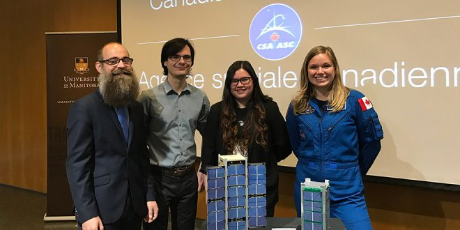 From left to right: Dr. Philip Ferguson and his graduate students Valorie Platero and Matthew Driedger, with Canadian Space Agency Astronaut Dr. Jenni Sidey.