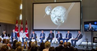 Nine current and former astronauts participated in panel discussion at the University of Ottawa during Science Literacy Week. From left to right: moderator Amber Mac, Marc Garneau, Steve MacLean, Chris Hadfield, Robert Thirsk, Bjarni Tryggvason, Dafydd Williams, Jeremy Hansen, Joshua Kutryk and Jenni Sidey-Gibbons