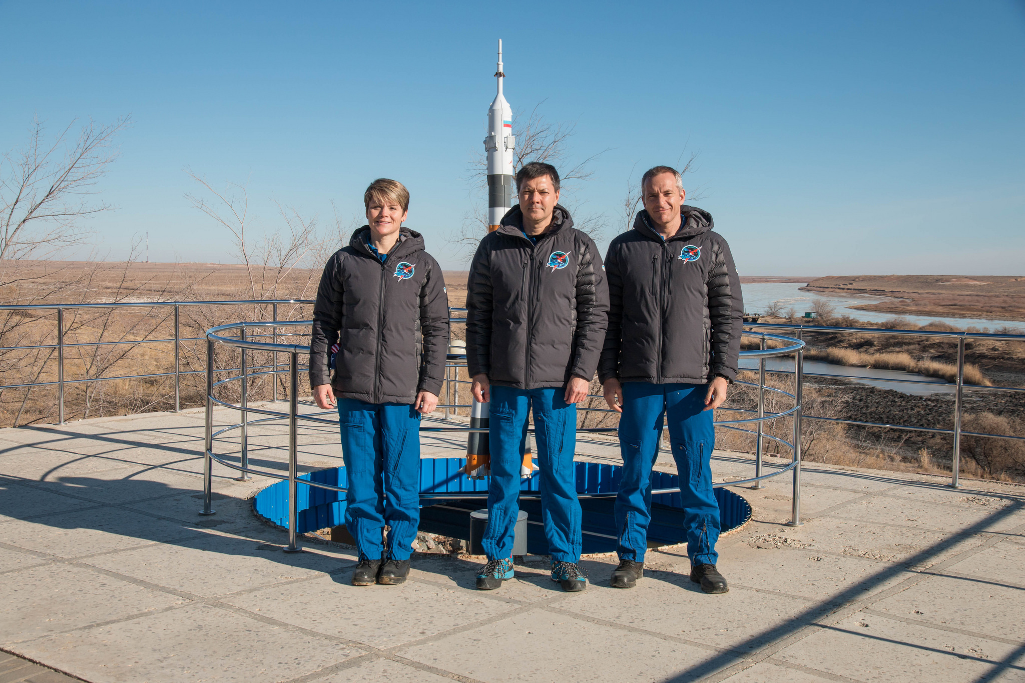 Expedition 58 crew members during traditional pre-launch activities