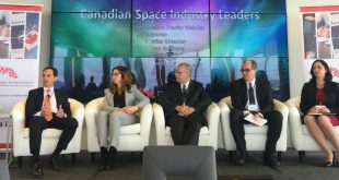 The Power Panel: (From left to right) Dan Goldberg, Telesat, Marina Massissian, Honeywell, Mike Greenley, MDA, David O'Connor, Magellan Aerospace and moderator Charity Weeden