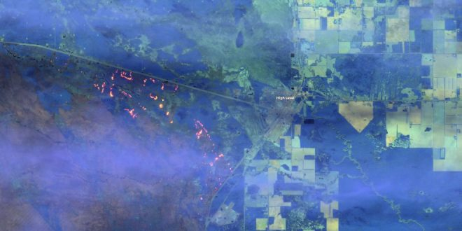 European Space Agency Sentinel-2 satellite image of the High Level, Alberat wildfire