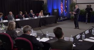 NASA administrator Jim Bridenstine speaks to the Advisory Council in August of 2018 where announced the creation of the Regulatory and Policy Issues Committee