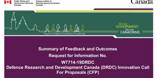 DRDC RFI Summary of Feedback for 2019 Innovation Call for Proposals